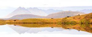 Isle of Skye, view of The Cuillins from Loch Ghabhsgabhaig 2849PAN