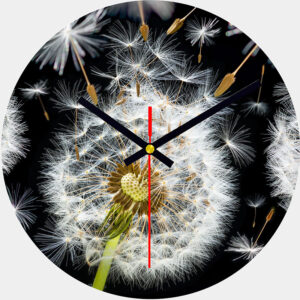 Dandelion Glass Wall Clock