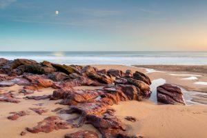 Pembrokeshire, Freshwater East Beach, moonrise 4295