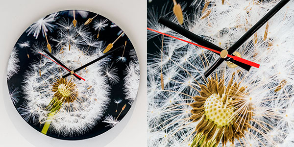 Glass Wall Clock Dandelion