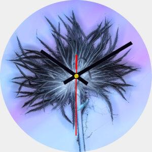 Pasque Flower Glass Wall Clock