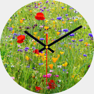 Wisley Wild Flower Meadow Glass Wall Clock